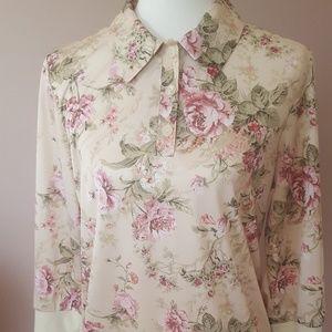 Vintage 90s Floral Jersey Blouse